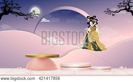 Mid Autumn With Fairy Chang'e,the Chinese Goddess Of The Moon With Rabbit Jade,vector 3d Podium In P