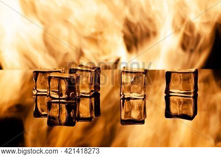 Five Pieces Of Ice On Black Plunging, Place Under The Text