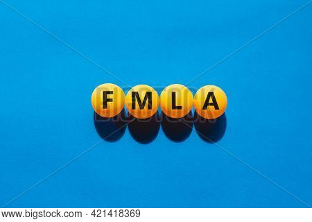 Fmla, Family Medical Leave Act Symbol. Orange Table Tennis Balls With The Word 'fmla, Family Medical
