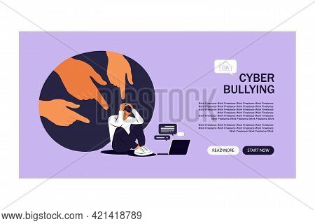Cyber Bullying Landing Page. Depressed Man Sitting On The Floor. Opinion And The Pressure Of Society