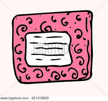 Vector Gift Box. Hand-drawn In Doodle Style Gift Top View, Black Outline In Pink Color With Curl And