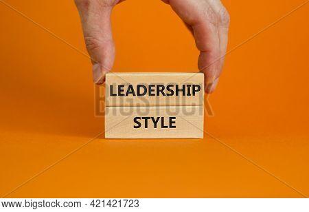 Leadership Style Symbol. Wooden Blocks With Words 'leadership Style' On Beautiful Orange Background.
