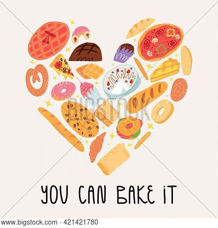 Traditional American, Spanish, Belgian Etc Cuisine Pastry, Baked Desserts In Heart Shape. You Can Ba