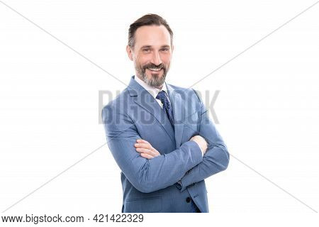 Happy Mature Grizzled Businessman In Businesslike Suit Isolated On White, Business
