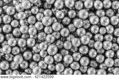 Sprinkles Silver Ball Confections Seamless Background, Top View, Macro