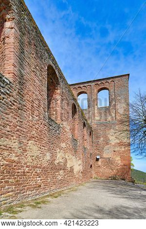 Wall Surrounding Old Ruin Of Limburg Abbey In Palatinate Forest In Bad Dürkheim City In Germany