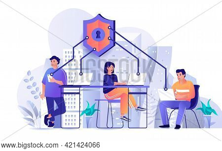 Network Security Concept In Flat Design. Personal Data Protection Across Devices Scene Template. Men