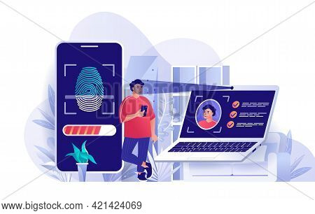 Biometric Access Control Concept In Flat Design. User Identification By Face Recognition And Fingerp