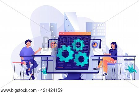 Developers Team Concept In Flat Design. Colleagues Work Together At Project Scene Template. Man And