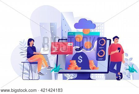 Virtual Finance Concept In Flat Design. Online Banking And Accounting Scene Template. Man And Woman