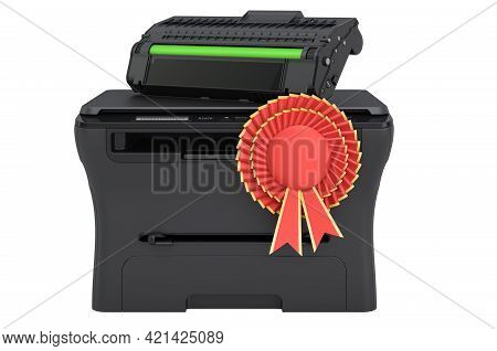 Multifunction Printer Mfp With Best Choice Badge, 3d Rendering Isolated On White Background