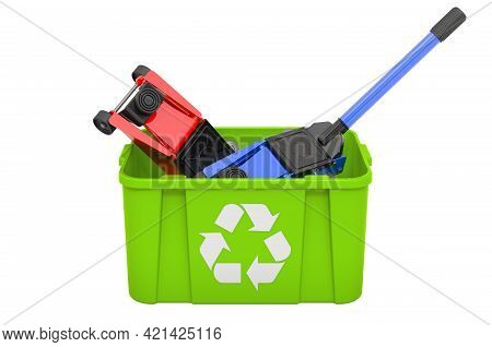 Recycling Trashcan With Hydraulic Floor Jack, 3d Rendering Isolated On White Background