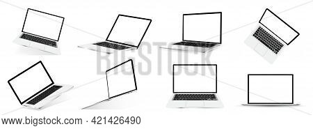 Mockups 3d Open Laptops. Great Collection 3d Realistic Notebooks For Online Presentations. Laptops I