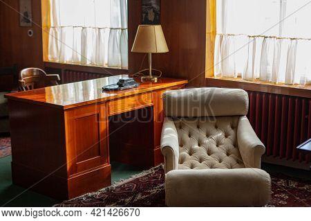 Pilsen, Czech Republic, 1.09.2019 - Restored Adolf Loos Designed Interiors. Furniture And Furnishing