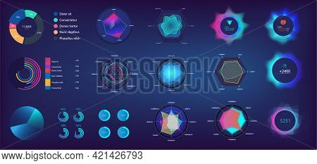 Circle Infographic And Pie Chart In Futuristic Style For Web, Ui, Ux, Kit And Mobile App. Infochart