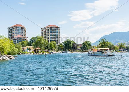 Penticton, British Columbia/canada - July 6, 2020: View From The Pier Of The Penticton Waterfront An
