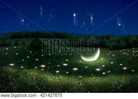 Fantasy Scene Of A Landscape With Stars And Moon Lying On The Field. Photo Manipulation. Illustratio