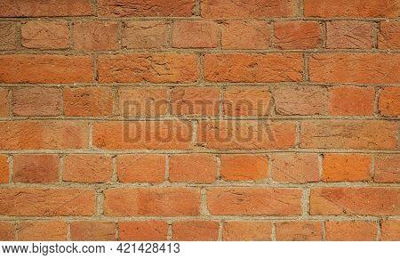 Simple Hand Made Brick Wall. Detailed Photo Of Brickwork.