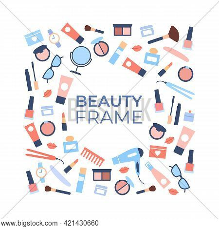 Beauty Products Background Template With Blank Space. Advertising Cosmetic Banner. Flat Female Objec
