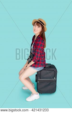 Beautiful Portrait Young Asian Woman Sitting On Luggage Smiling And Travel Summer Trip For Abroad In