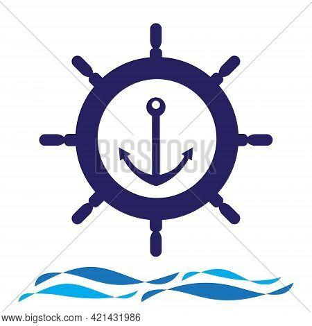 Nautical Navy Cruise Sign. Ship Steering Wheel With Anchor And Wave Vector Logo Design.
