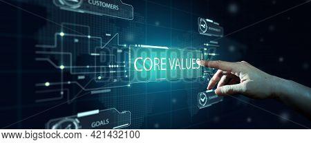 Businessman Select Core Values On Virtual Screen. Core Values Responsibility Ethics Goals Innovation