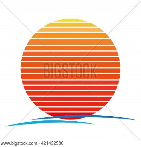 Vector Of Gradient Sunset And Sea Wave. Retro Style 80s Logo Or Icon Illustration Design