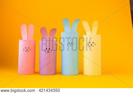 Happy Diy Easter Decoration Concept Bunnies From Toilet Paper Roll Tube. Simple Creative Idea, Easy