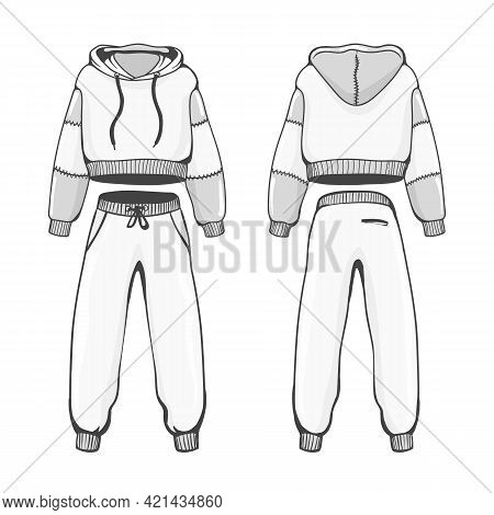 Female Hoody With Pants. Woman Tracksuite With Hood, Jogging Sports Hoodie Sweat Clothes Template Sk