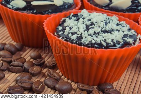 Fresh Baked Homemade Muffins With Chocolate, Coffee And Desiccated Coconut. Delicious Dessert