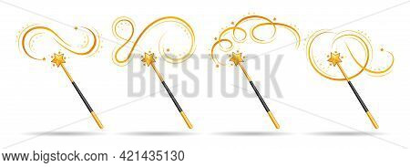 Cartoon Magical Wand. Magic Princess Vector Stick With Star Icon For Creative Miracle Isolated On Wh