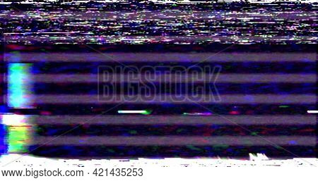 Vhs Screen Digital Glitch And Noise. Videotape Tracking Defect Mode. Color Dynamic Noise Motion. Old