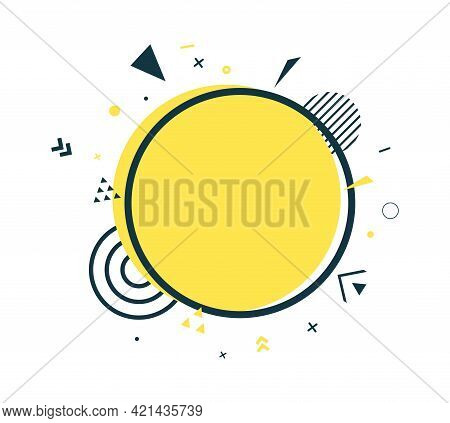 Yellow Circle And Black Frame In Flat Style. Memphis Art Banner With Abstract Geometric Shapes. Outl