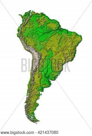 South America Continent, Detailed Papercut Layered Map With Shadows, Isolated On White Background, 3