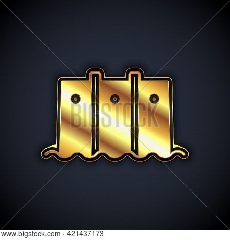 Gold Hydroelectric Dam Icon Isolated On Black Background. Water Energy Plant. Hydropower. Hydroelect