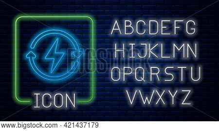 Glowing Neon Recharging Icon Isolated On Brick Wall Background. Electric Energy Sign. Neon Light Alp
