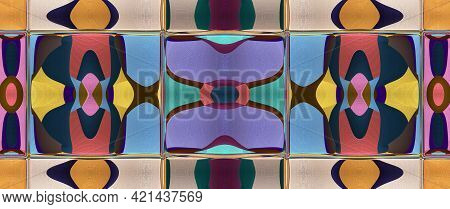 Stylized Ceramic Tile. Multicolor Mosaic Ornament. Excellent Modern Pattern. Ceramic Tableware, Wood
