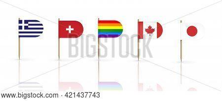 Toothpick Flags Of Countries Greece, Switzerland, Canada And Japan With Lgbt Rainbow Pennant On Wood