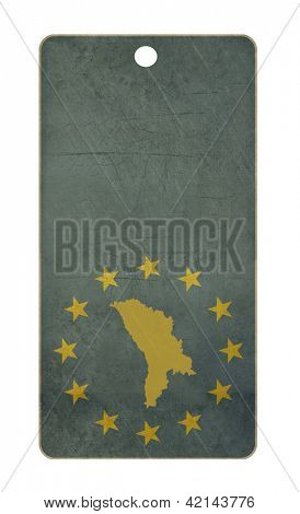 Moldova travel tag isolated on white background with copy space.