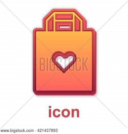 Gold Shopping Bag With Heart Icon Isolated On White Background. Shopping Bag Shop Love Like Heart Ic