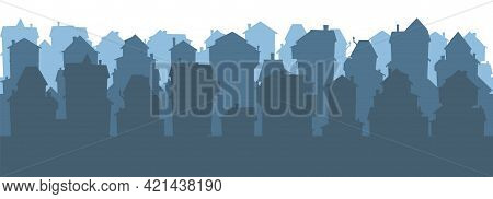 Town. Silhouette Of Cartoon Houses Of The Village Or City. Seamless Street. Isolaterd, Horizontal. N
