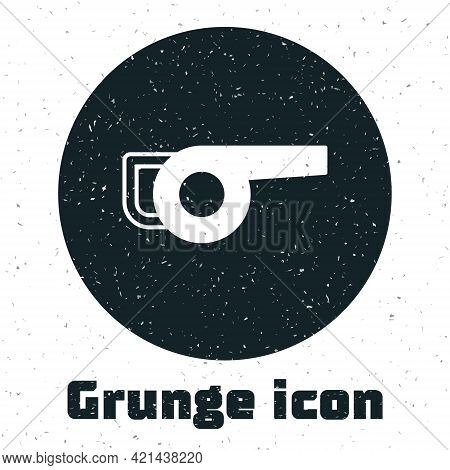 Grunge Leaf Garden Blower Icon Isolated On White Background. Monochrome Vintage Drawing. Vector