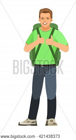 Guy Is Tourist. Young Handsome Handsome Boy With Backpack. Friendly Smile. In Jeans, T-shirt And Sne