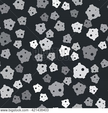 Grey Asteroid Icon Isolated Seamless Pattern On Black Background. Vector