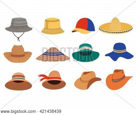 A Set Of Summer Womens Hats. Summer And Spring Hats. Vector Flat Illustration