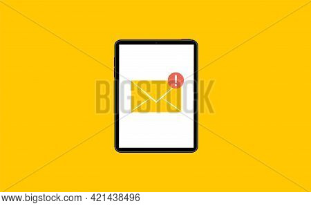 Tablet With Email Envelope. Tablet And Document On Screen. Flat Style Vector Illustration.