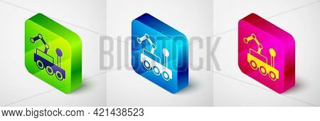 Isometric Mars Rover Icon Isolated On Grey Background. Space Rover. Moonwalker Sign. Apparatus For S