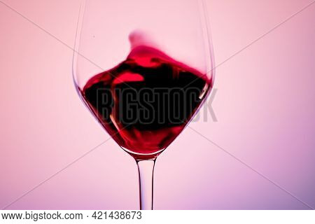 Premium Red Wine In Crystal Glass, Alcohol Drink And Luxury Aperitif, Oenology And Viticulture Produ