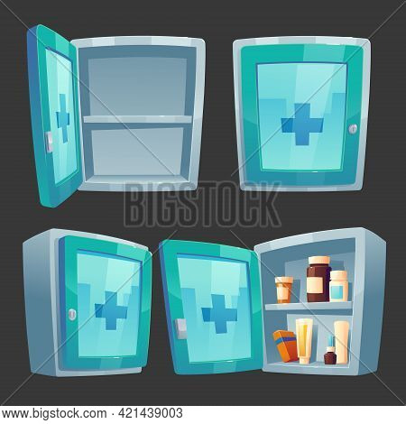 First Aid Kit, Medicine Box With Pharmacy. Closed And Open Wall Chest With Drugs, Pills Packs And Bo