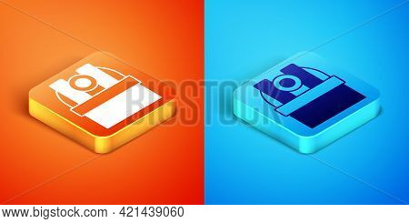Isometric Astronomical Observatory Icon Isolated On Orange And Blue Background. Observatory With A T